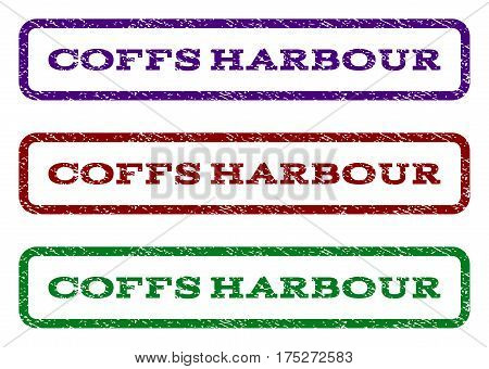 Coffs Harbour watermark stamp. Text tag inside rounded rectangle with grunge design style. Vector variants are indigo blue, red, green ink colors. Rubber seal stamp with dirty texture.