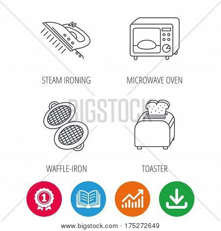 Microwave oven, waffle-iron and toaster icons. Steam ironing linear sign. Award medal, growth chart and opened book web icons. Download arrow. Vector