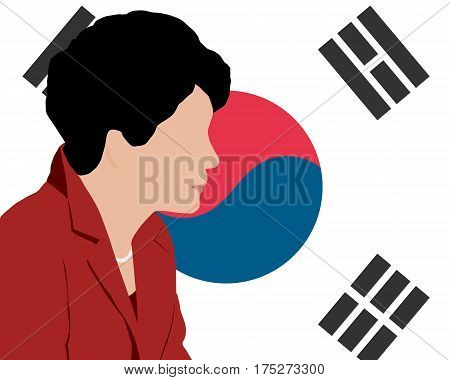 03 MAR 2017 : Illustration of President of South Korea Park Geun-hye on South Korea flag
