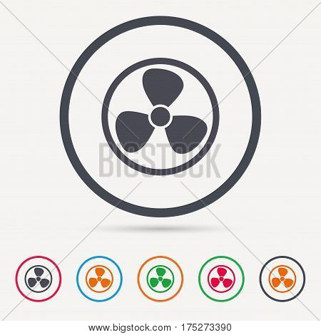 Ventilation icon. Air ventilator or fan symbol. Round circle buttons. Colored flat web icons. Vector