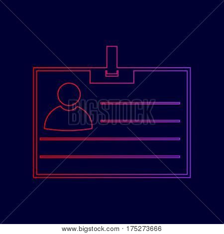 Id card sign. Vector. Line icon with gradient from red to violet colors on dark blue background.