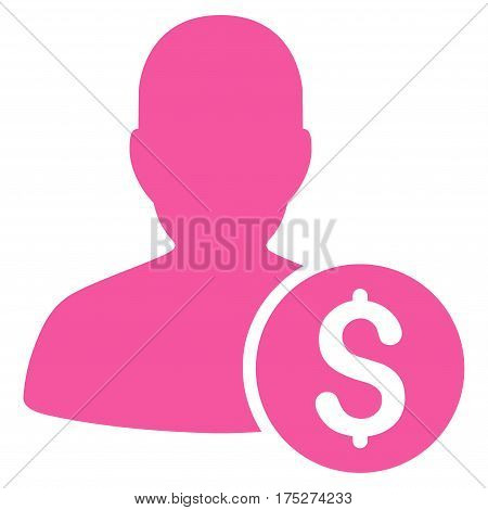 Investor vector pictograph. Illustration style is a flat iconic pink symbol on white background.