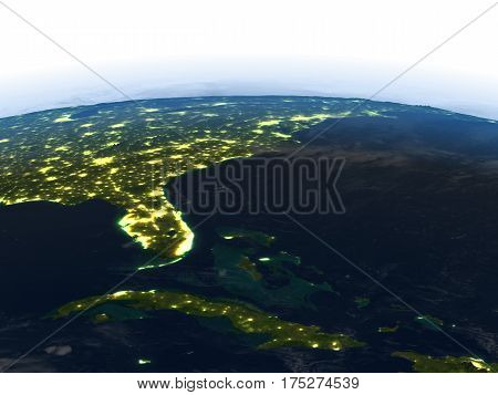 East Coast Of Usa At Night On Planet Earth