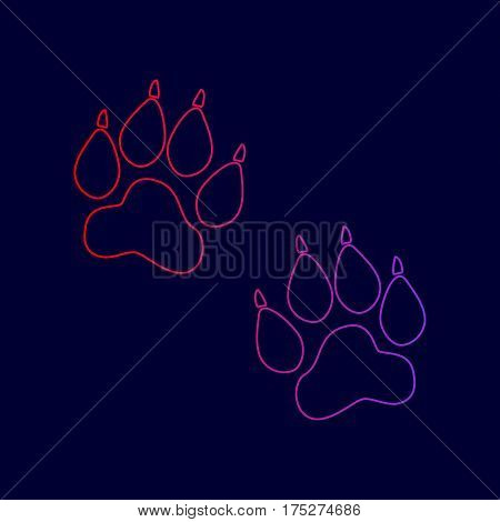 Animal Tracks sign. Vector. Line icon with gradient from red to violet colors on dark blue background.