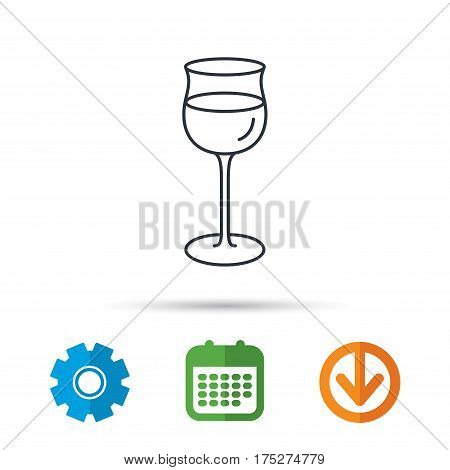 Wineglass icon. Goblet sign. Alcohol drink symbol. Calendar, cogwheel and download arrow signs. Colored flat web icons. Vector