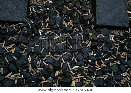 Texture background image of cigarettes on the ground