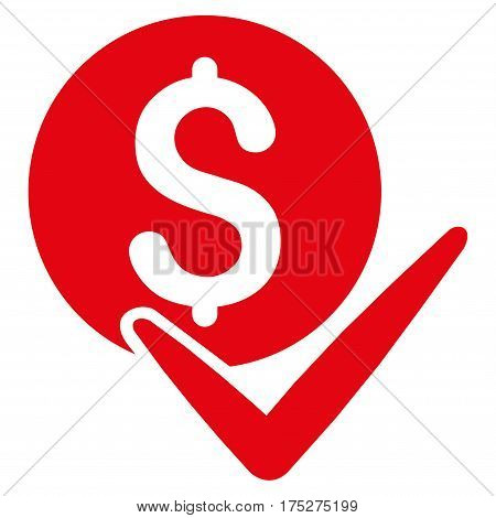Accept Payment vector pictograph. Illustration style is a flat iconic red symbol on white background.