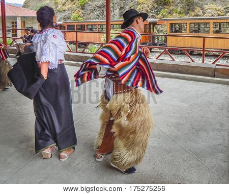 Couple Dancing Traditional Ecuadorian Indigenous Dance