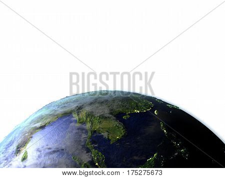 Indochina On Realistic Model Of Earth