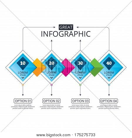 Infographic flowchart template. Business diagram with options. Sale discount icons. Special offer price signs. 10, 20, 30 and 40 percent off reduction symbols. Timeline steps. Vector