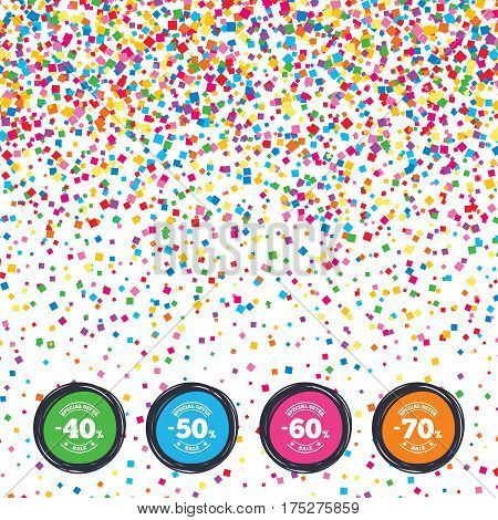 Web buttons on background of confetti. Sale discount icons. Special offer stamp price signs. 40, 50, 60 and 70 percent off reduction symbols. Bright stylish design. Vector