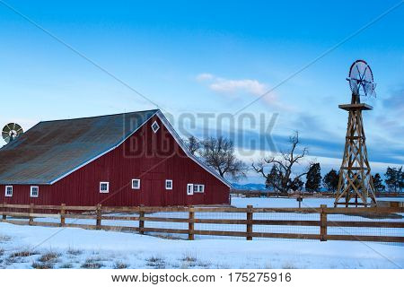 Old Red Barn at the 17mile House Farm Park Colorado.