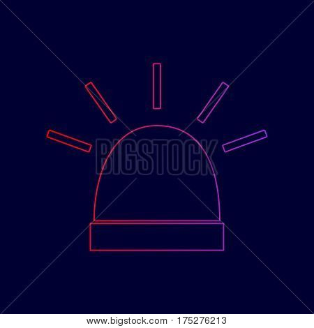 Police single sign. Vector. Line icon with gradient from red to violet colors on dark blue background.