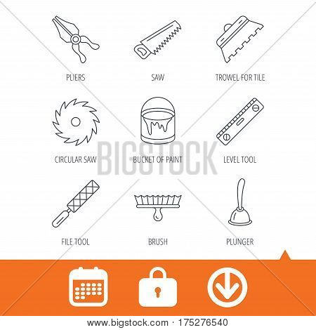 Trowel for tile, saw and brush tool icons. Level and file tool, bucket of paint linear signs. Plunger, pliers icons. Download arrow, locker and calendar web icons. Vector