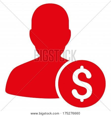 Investor vector pictograph. Illustration style is a flat iconic red symbol on white background.
