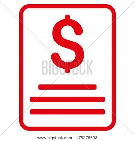 Invoice Budget vector icon. Illustration style is a flat iconic red symbol on white background.