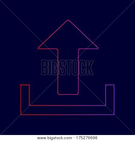 Upload sign illustration. Vector. Line icon with gradient from red to violet colors on dark blue background.