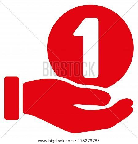 One Coin Payment Hand vector pictogram. Illustration style is a flat iconic red symbol on white background.