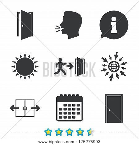 Automatic door icon. Emergency exit with human figure and arrow symbols. Fire exit signs. Information, go to web and calendar icons. Sun and loud speak symbol. Vector