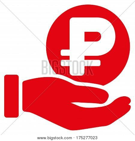 Rouble Coin Payment Hand vector pictogram. Illustration style is a flat iconic red symbol on white background.