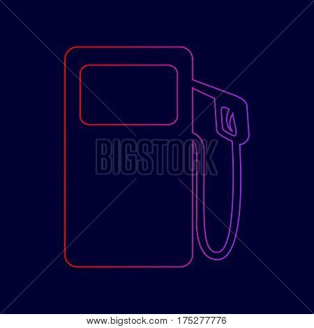 Gas pump sign. Vector. Line icon with gradient from red to violet colors on dark blue background.