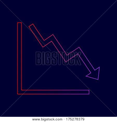 Arrow pointing downwards showing crisis. Vector. Line icon with gradient from red to violet colors on dark blue background.