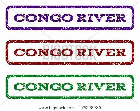 Congo River watermark stamp. Text caption inside rounded rectangle frame with grunge design style. Vector variants are indigo blue, red, green ink colors. Rubber seal stamp with unclean texture.