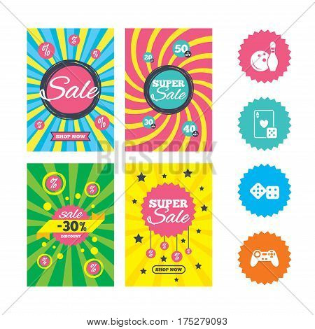 Web banners and sale posters. Bowling and Casino icons. Video game joystick and playing card with dice symbols. Entertainment signs. Special offer and discount tags. Vector