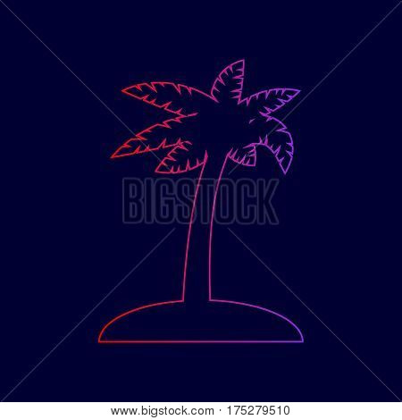 Coconut palm tree sign. Vector. Line icon with gradient from red to violet colors on dark blue background.