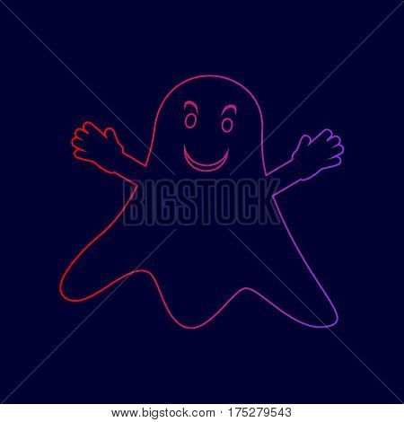 Ghost isolated sign. Vector. Line icon with gradient from red to violet colors on dark blue background.