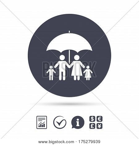 Complete family insurance sign icon. Umbrella symbol. Report document, information and check tick icons. Currency exchange. Vector