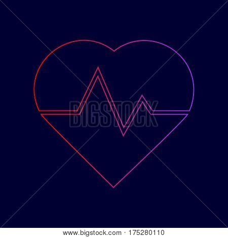 Heartbeat sign illustration. Vector. Line icon with gradient from red to violet colors on dark blue background.