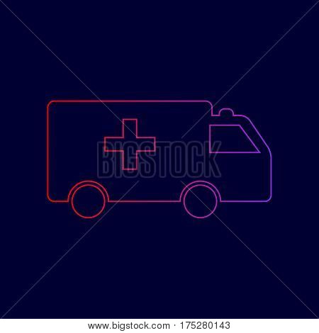 Ambulance sign illustration. Vector. Line icon with gradient from red to violet colors on dark blue background.
