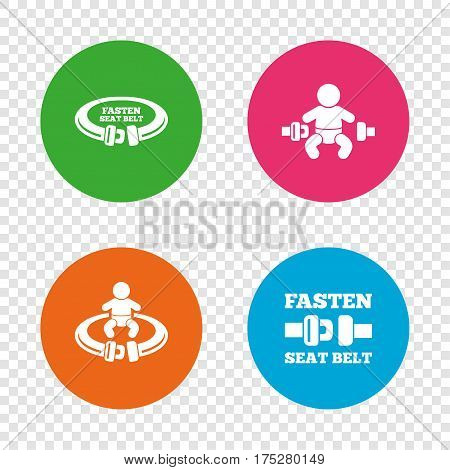 Fasten seat belt icons. Child safety in accident symbols. Vehicle safety belt signs. Round buttons on transparent background. Vector