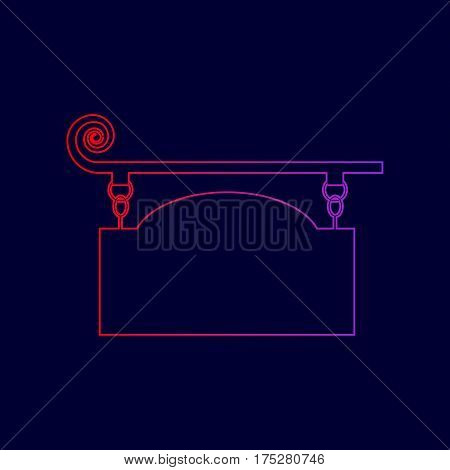 Wrought iron sign for old-fashioned design. Vector. Line icon with gradient from red to violet colors on dark blue background.