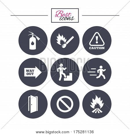 Fire safety, emergency icons. Fire extinguisher, exit and attention signs. Caution, water drop and way out symbols. Classic simple flat icons. Vector
