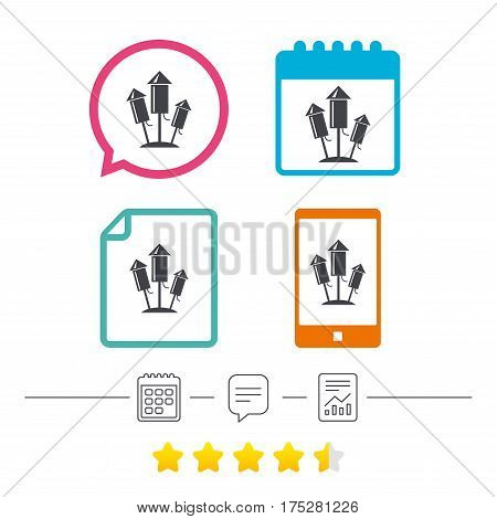 Fireworks rockets sign icon. Explosive pyrotechnic device symbol. Calendar, chat speech bubble and report linear icons. Star vote ranking. Vector