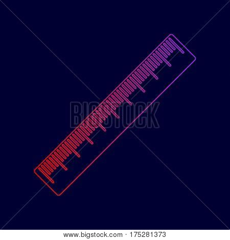Centimeter ruler sign. Vector. Line icon with gradient from red to violet colors on dark blue background.