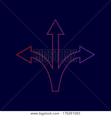 Three-way direction arrow sign. Vector. Line icon with gradient from red to violet colors on dark blue background.