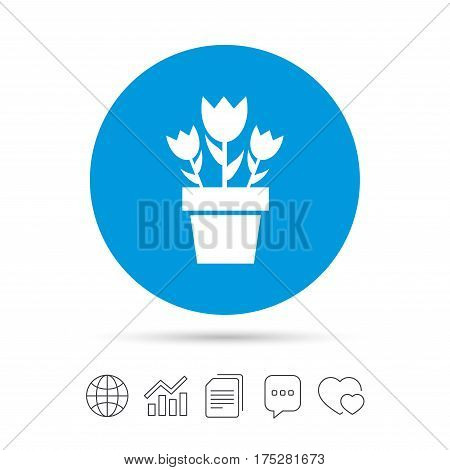 Flowers in pot icon. Bouquet of roses. Macro sign. Copy files, chat speech bubble and chart web icons. Vector
