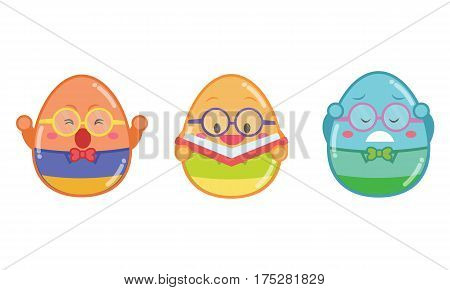 Geek easter egg style collection vector illustration