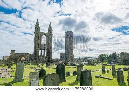 St. Andrews, Scotland. 19 September 2016 - Tourist Around Ruin Of St Andrews Cathedral In St Andrews
