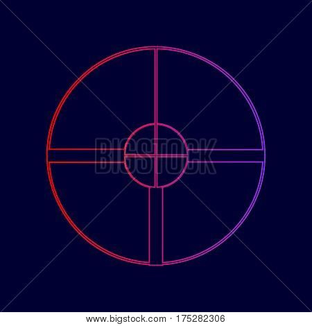 Sight sign illustration. Vector. Line icon with gradient from red to violet colors on dark blue background.