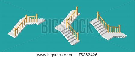 Isometric stairs with a railings. Vector illustration.
