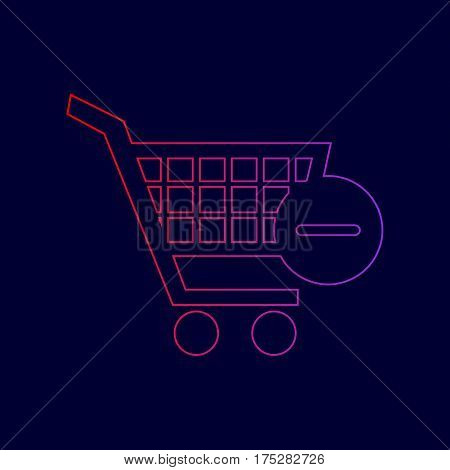 Vector Shopping Cart with Remove sign. Vector. Line icon with gradient from red to violet colors on dark blue background.