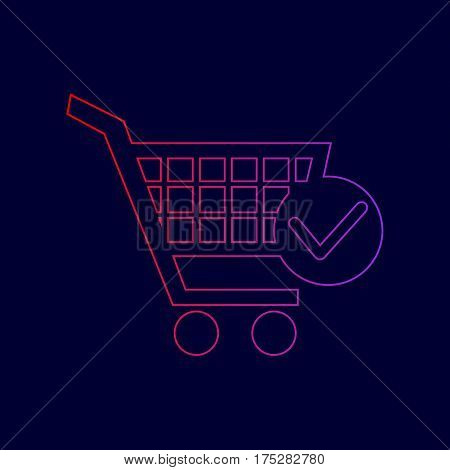 Shopping Cart with Check Mark sign. Vector. Line icon with gradient from red to violet colors on dark blue background.