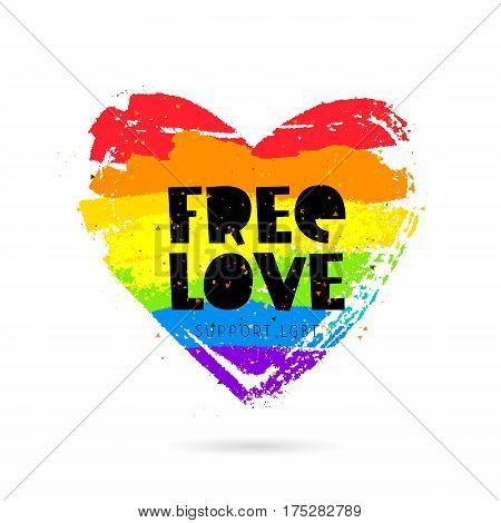 Free love. Support LGBT. Lettering. Big rainbow heart. Vector illustration on white background. Sex Culture concept.