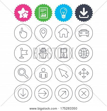 Download, light bulb and report signs. GPS navigation icons. Car and Ship transport. You are here, map pointer symbols. Search gas or petrol stations, hotels. Best quality star symbol. Flat buttons