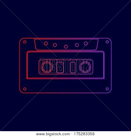 Cassette icon, audio tape sign. Vector. Line icon with gradient from red to violet colors on dark blue background.