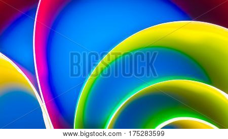 abstract art of colorful blur color background and selective focus on line highlight. Gradient color is separate colors. curve of line rainbow. creative abstract style in dynamic color.